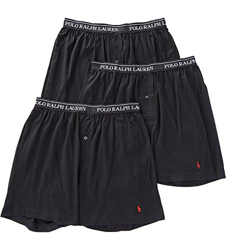 Polo Ralph Lauren Knit Boxer Shorts with Moisture Wicking 100% Cotton - 3 Pack (L, Black 3) (Boxers Polo Lauren Ralph)