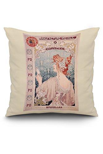 (Manufacture Royale de Corsets Vintage Poster (artist: Livemont) Netherlands c. 1897 (20x20 Spun Polyester Pillow, White)