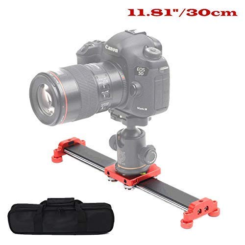 Sutefoto 11.8'/30cm Portable Camera Slider Track with 4 Bearing for Video Movie Photography DSL Nikon Canon Pentax Sony Cameras,Phone, Action Camera, Max Support 8kg/13.2 lbs Loading
