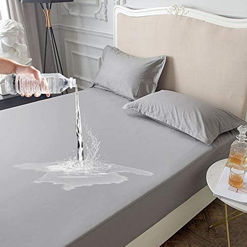 Wasserdichter Matratzenschoner Atmungsaktive Hygienische Matratzenschutz Anti-Allergie Matratzenauflage 90 x 200cm, Grau