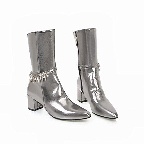 Charm Foot Womens Western Zipper Chunky Mid Zipper Con Cerniera Metà Polpaccio Stivali Colore Della Pistola
