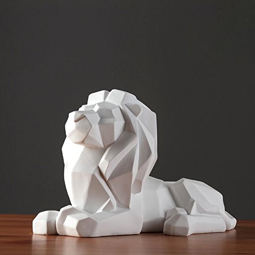 QARYYQ Simple Creative Geometric Origami Lion Animal Ornaments Crafts (Color : White)