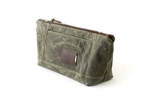 Waxed Canvas Toiletry Bag: Large, Travel, Organizer, Olive Green - No. 317 (Made in the USA) by Sivani Designs