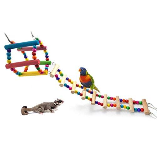 Gaweb Colourful Climbing Swing Toy Climbing Hanging Ladder Bridge for Bird Parrot African Grey Macaw Budgie Parakeet Cockatiel Cockatoo Conure Lovebird Finch Hamster (Hanging Parakeets)