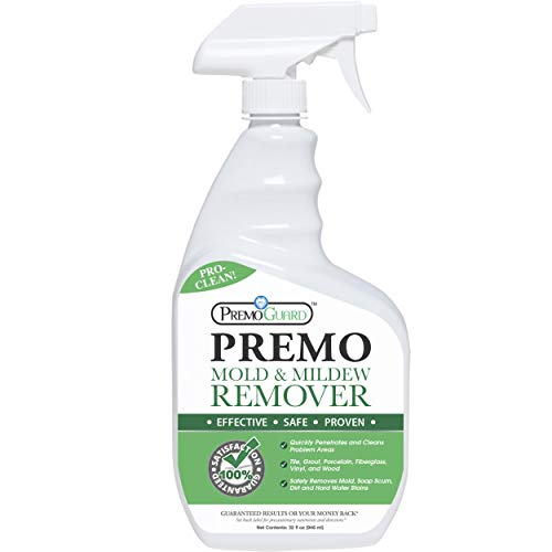 Mold & Mildew Remover - Professional Spray Cleaner & Stain Eliminator - Natural Product - Safely Removes Dirt, Moss & Algae - Kitchen/Bathroom/Shower/Tile/Grout/Vinyl Siding/Wood Decking/Boat - 32 oz