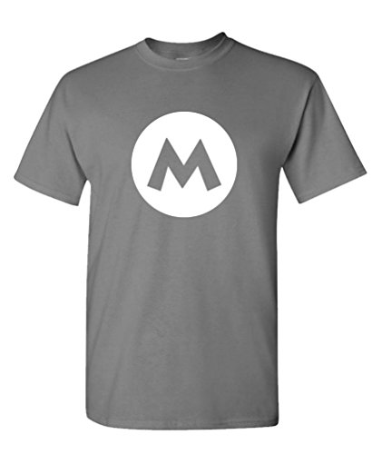 MARIO - video game costume halloween funny - Mens Cotton Tee, XL, Charcoal -