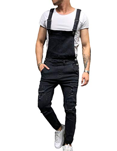 - XARAZA Men's Slim Fit Ripped Denim Overalls Casual Bib Pants Jumpsuit (M, Black)