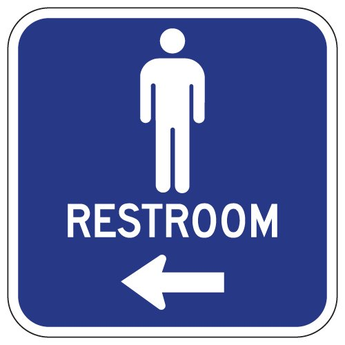 STOPSignsAndMore - Aluminum Mens Restrooms Sign - Left Arrow - 12x12