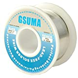 GSUMA 0.6mm 50g / 1.8OZ 21m / 69FT Lead Free Rosin Core Solder Soldering Wire Reel (More Environmentally Friendly Than tin Lead Solder Wire) (White Wheel)