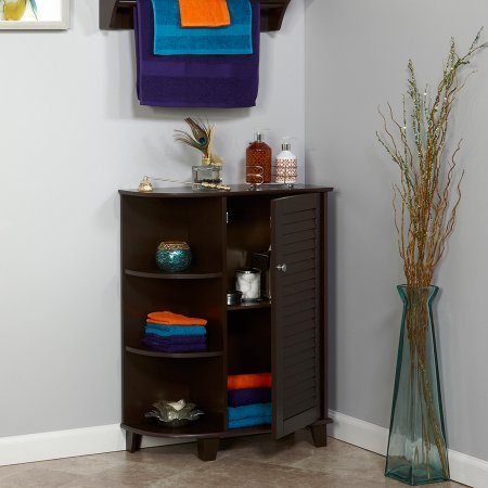 Floor Cabinet with Side Shelves and Drawer, Sturdy Wood Construction, Extra Storage, Saves Space, Perfect for Bathroom, Bedroom, Living Room, Home Furniture, Espresso Finish (Select Wood Floors)