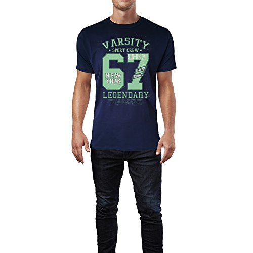 Sinus Art ® Herren T Shirt Varsity Sport Crew 1967 ( Navy ) Crewneck Tee with Frontartwork