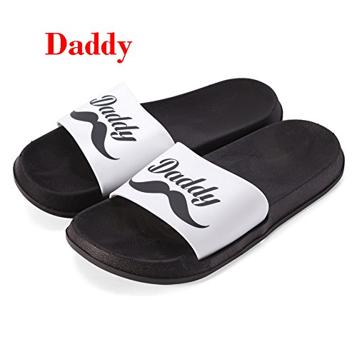 handrong 2 Pairs Mens Womens Slippers Indoor Outdoor House Open Toe Slip On Slipper for Lovers Couple Valentine's Day Wedding Gifts Christmas Holiday Favors Home Shower Travel Use, Black and White by handrong (Image #1)
