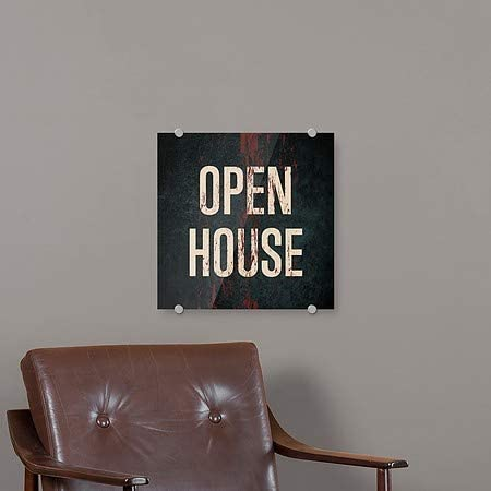 Ghost Aged Rust Premium Brushed Aluminum Sign Open House CGSignLab 16x16 5-Pack