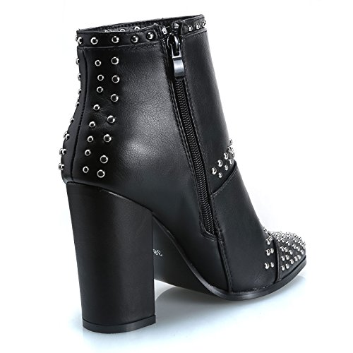 tronchetto tacco 9247 donna pelle Nero eco scarpe MForshop stivaletti borchie alto twaqxPRq