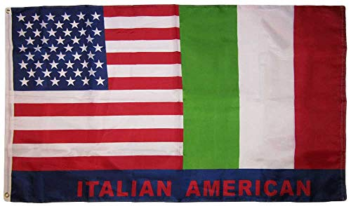 Trade Winds 3x5 USA American Italy Italian Friendship Combo 150D Woven Polyester Nylon Flag 3'x5' Banner Grommets Heavy (UV Fade Proof Heavy Duty Wind Resistant Fabric)