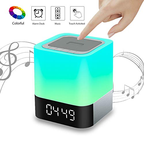 VIVOHOME 5 in 1 Wireless Smart Touch Sensor Dimmable LED Night Light Bluetooth Speaker Table Lamp Alarm Clock MP3 Player Connection Table Lamp 1 Light