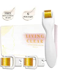 Derma Roller Microneedle | 5 Piece Kit With 3 Replacement Heads | 600 Titanium MicroNeedling | .25mm Exfoliate Face Dermapen | DERMAROLL BY LIVINGCLEAR |