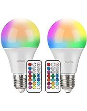 Lampadine Colorate LED, OMERIL 10W Lampadine E27 Cambia Colore RGBW Lampadine Multicolore Dimmerabile con 12 Colore, Funzione di Memoria Dual, con 21 Chiavi Telecomando per Party, Casa, Bar, Discoteca