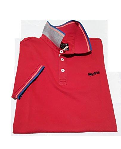 Polo In Contrasto Fit Corta Woolrich Stretch Micro Collo Slim Cotone Manica 100 Wopol0436 Rosso Con Uomo Piquet 5192 daqZa4