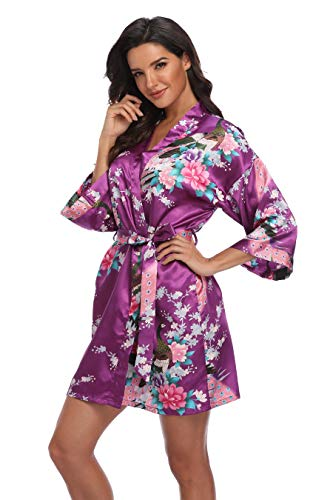 - Mignon Cromwell Women's Short Bridesmaids Robe Floral Satin Kimono Dressing Gown with Pockets, Deep Purple, L