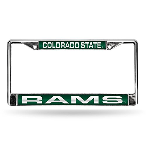 (Rico Industries NCAA Colorado State Rams Laser Cut Inlaid Standard Chrome License Plate Frame, 6