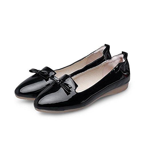 VogueZone009 Damen Spitz Zehe Ohne Absatz Ziehen auf Rein Flache Schuhe Schwarz
