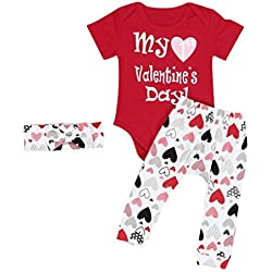 Mostsola 3 Pcs Infant Baby Boy Girl Romper Pants Headband Valentines Day  Outfits Sets (6