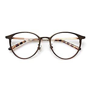 Komehachi - Super Light Unisex Vintage Simple Elegant Round Metal RX-Ready Eyeglasses Frame with Clear Lenses (Brown)