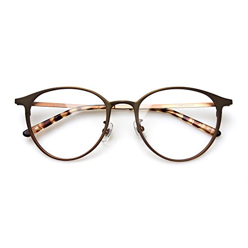 Rx Prescription Eyeglass Frame - Komehachi - Super Light Unisex Vintage Simple Elegant Round Metal RX-Ready Eyeglasses Frame with Clear Lenses (Brown)