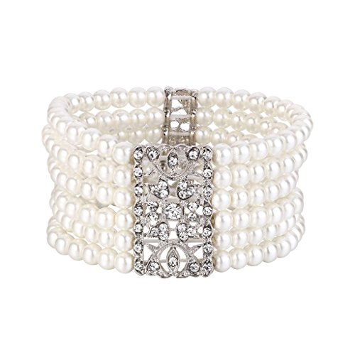 BriLove Women's Vintage Inspired Crystal Cream Simulated Pearl Hollow Stretch Bracelet Clear Silver-Tone by BriLove