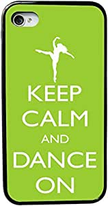 Rikki KnightTM Keep Calm and Dance On - Lime Green Color Design iPhone 4 & 4s Case Cover (Black Rubber with bumper protection) for Apple iPhone 4 & 4s