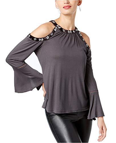 INC International Concepts Women's Velvet-Trimmed Embellished Cold-Shoulder Top