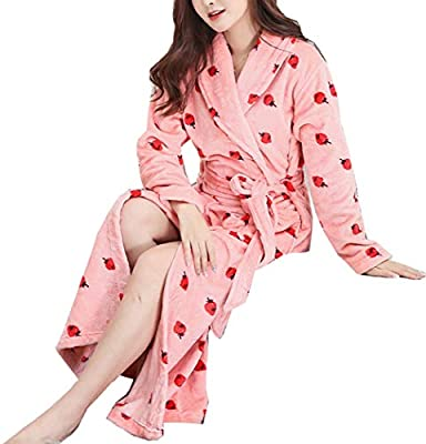 Femaroly Strawberry Nightgown Autumn and Winter Warm and Long Flannel Bathrobe Coral Fleece Robe for Women