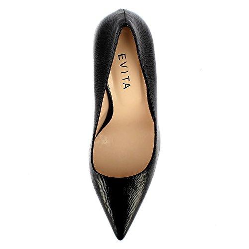 Evita Shoes Natalia Damen Pumps Lack mit Prägung Schwarz