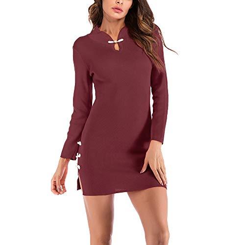 Morecome,Women 2018 Slim Sexy Retro Cheongsam Knit Mini Dress Stand Collar Split Sheath Dress ()