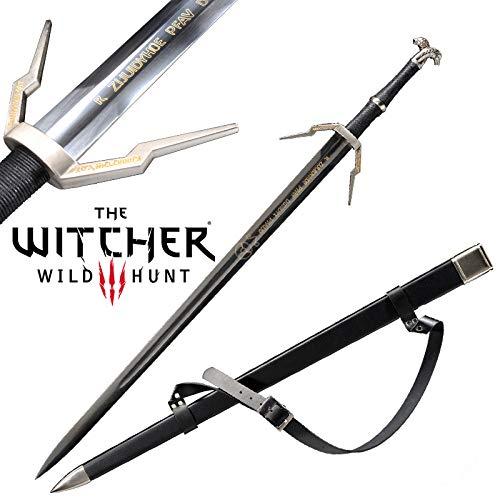 Yongli Sword The Witcher 3: Wild Hunt Geralt of Rivia Ciri Cosplay Replica Sword Game Stainless Steel (Geralt Black Ⅱ)
