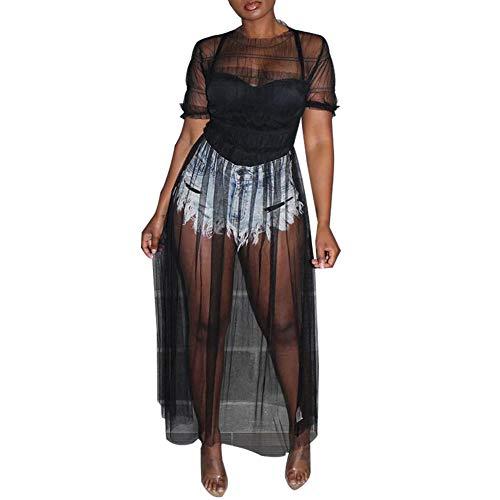 Ekaliy Women Sheer Mesh Dress - Sexy See Through Cover Ups T-Shirt Maxi Dresses Clubwear Black X-Large ()