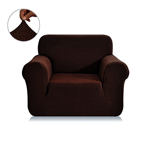Chunyi Jacquard Sofa Covers 1-Piece Polyester Spandex Fabric Slipcover (Chair, Chocolate)