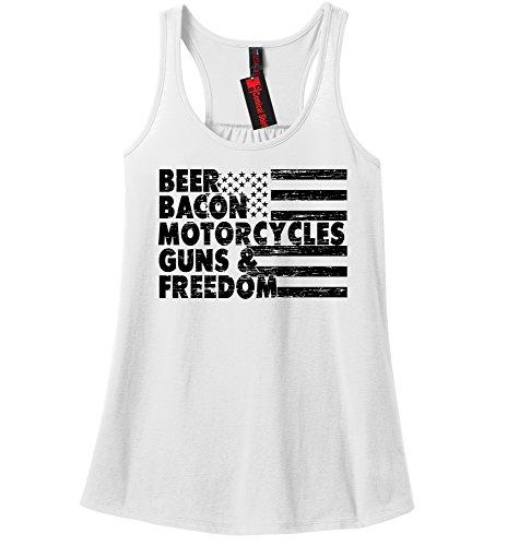 Comical Shirt Ladies Beer Bacon Motorcycles Guns & Freedom Tee Gun White XL