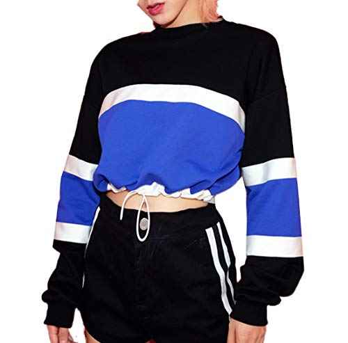 Shirts JackenLOVE Manches Court Pullover Jumpers Casual Hauts Col Longues Printemps Top Rond Fashion Patchwork Pulls T Blouse Tees Femmes Sweat et Noir Shirts Automne 7awaIqYr