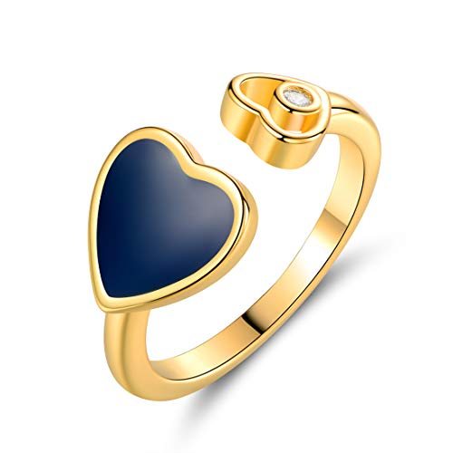 Barzel 18K Gold Plated Created Crystal & Enamel Heart Open Ring (Blue, 5)