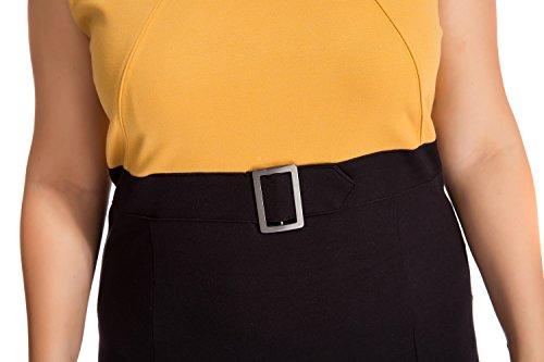 Donna del Metallo Mostarda Cintura Chicwe in Fibbia Forti Vestito Casual Ginocchio Maniche da con Lunghezza Taglie Senza Lavoro e dwqCwTP
