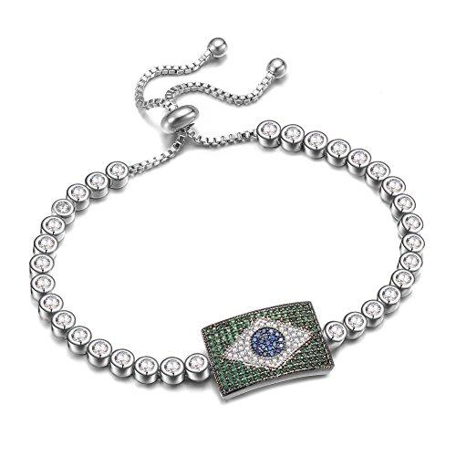 KIVN Fashion Jewelry Patriotic Brazilian Flag Adjustable CZ Cubic Zirconia Wedding Bridal Bracelets for Women (Emerald) Brazilian Jewelry