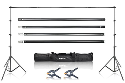 Emart Photography Photo Video Studio 8.5x10ft Adjustable Muslin Backdrop Background Heavy Duty Support Stand Kit with Case (Impact Background System Kit)