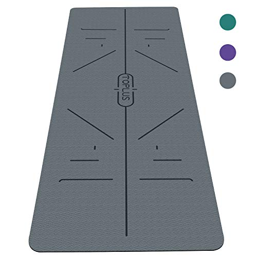 TOPLUS Yoga Mat, Body Alignment Line System, Extra Large Eco Friendly Non-Slip Exercise & Fitness Mat with Carrying Strap, Workout Mat for All Type of Yoga, Pilates and Floor Exercises