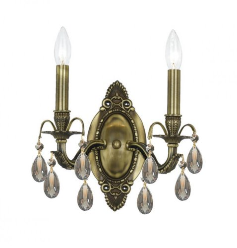 Antique Brass Dawson 2 Light Candle Style Double Wall Sconce With Hand-Polished ()