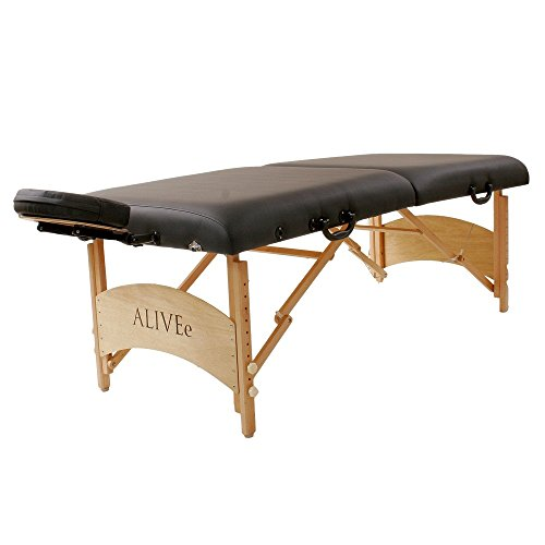 """ALIVEe Plato II Portable Massage Table with Free Massage Table accessories, 3"""" Foam and ALIVEe Black Ultra Soft Leather Light Finish"""