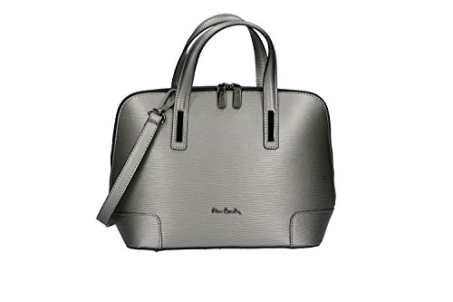 Bolsa mujer de mano bandoler PIERRE CARDIN gris cuero Made in Italy VN118