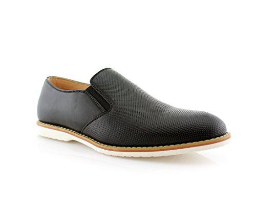 Ferro Aldo Men's Slip on Fashion Sneaker Black 6.5