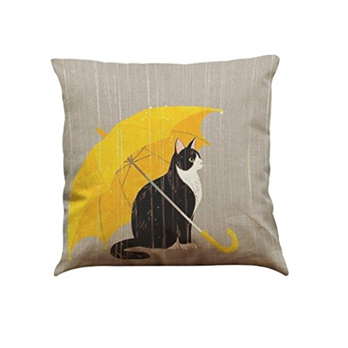 Han Shi Square Pillowcase, Cute Cat Printing Sofa Bed Home Decoration Festival Cushion Cover (D, M)